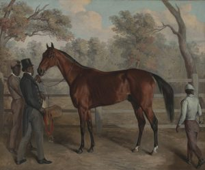 "Obj. No. 85.645 Edward Troye (American, 1808-1874) Richard Singleton with ""Viley's Harry, Charles and Lew,"" 1834 Oil on canvas 24½""H x 29½""W 62.23 cm x 74.93 cm Image must be credited with the following collection and photo credit lines: Virginia Museum of Fine Arts, Richmond. Paul Mellon Collection. Photo: Katherine Wetzel © Virginia Museum of Fine Arts"