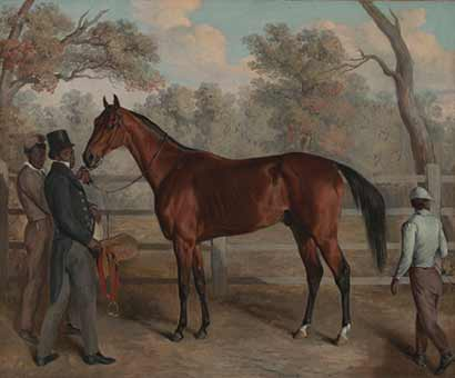"Edward Troye, Richard Singleton with ""Viley's Harry, Charles and Lew"", 1834. Oil on canvas. Virginia Museum of Fine Arts, Richmond, Virginia. Paul Mellon Collection. Photo: Katherine Wetzel, © Virginia Museum of Fine Arts."